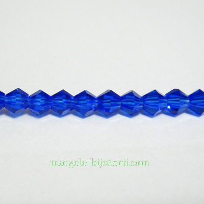 Margele sticla biconice albastre 4mm 10 buc