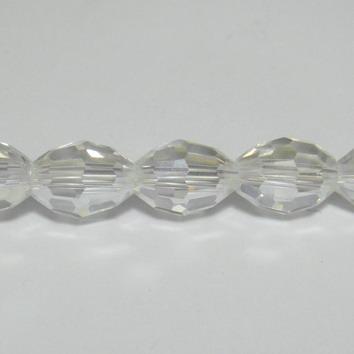 Margele sticla ovale, multifete, AB, 8x6mm 1 buc
