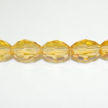 Margele sticla ovale, multifete, coniac, 10x8mm 1 buc