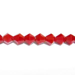 Margele sticla biconice, rosii, 4mm 10 buc