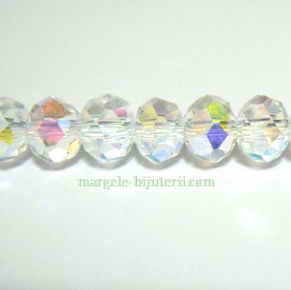 Margele sticla multifete, AB, 6,5x4,5mm 10 buc