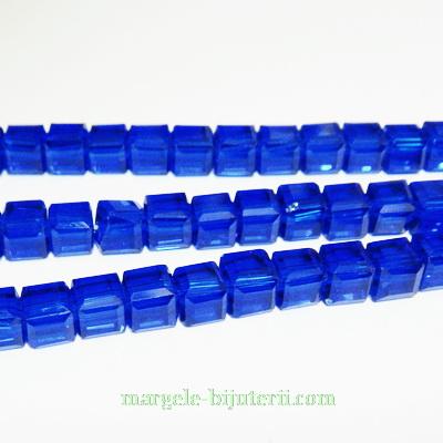Margele sticla albastra, cubice cu muchii tesite, 6x6mm 1 buc