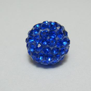 Margele shamballa albastre, 12mm 1 buc