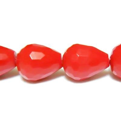 Margele multifete, rasina rosie, lacrima 11x8mm 1 buc