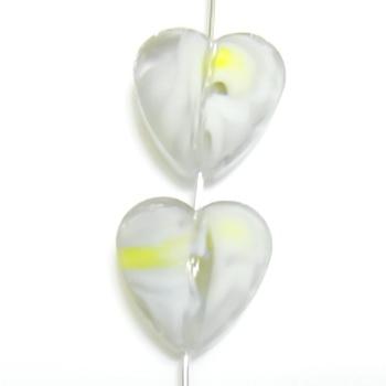 Margele sticla, lampwork, inima alb cu galben, 14x14x8mm 1 buc