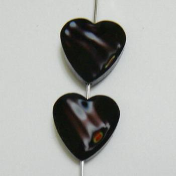 Margele sticla, lampwork, inima negru cu alb, 14x14x8mm 1 buc