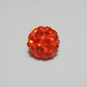 Margele shamballa portocalii, 10mm 1 buc