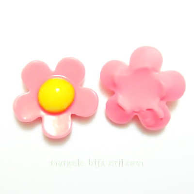 Aplice plastic roz inchis, floare 18mm 1 buc