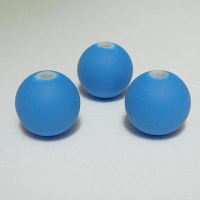 Margele plastic cauciucate albastre, 12mm 1 buc