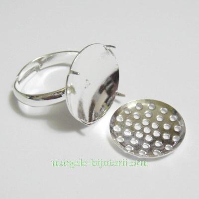 Baza inel ajustabila, 16mm, placata cu argint,platou 16mm 1 buc