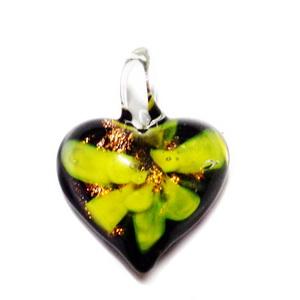 Pandantiv Murano negru cu floare galbena, inima 27x20x11mm  1 buc