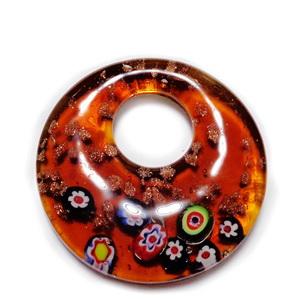 Pandantiv Murano maro cu floricele si glitter auriu, 52x10mm 1 buc