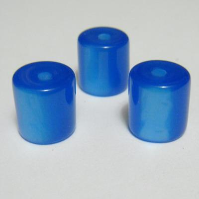 Margele rasina bleu, imitatie ochi de pisica, tub 11x11mm 1 buc