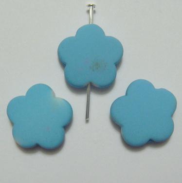 Margele plastic cauciucate bleu, floare 15x6mm 1 buc