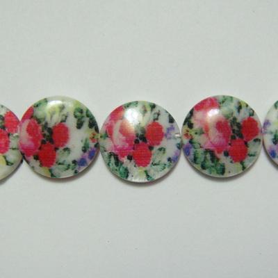 Perle plate sidef alb cu trandafiri, 14x3mm, orificiu 1mm 1 buc