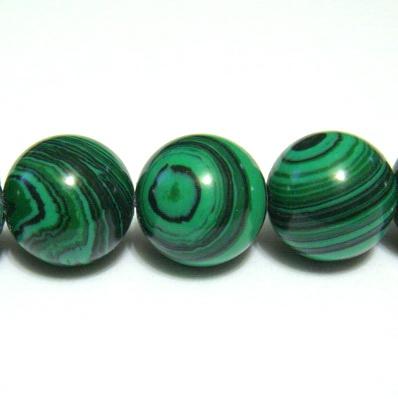 Malachit de sinteza, sferic, verde, 12mm 1 buc