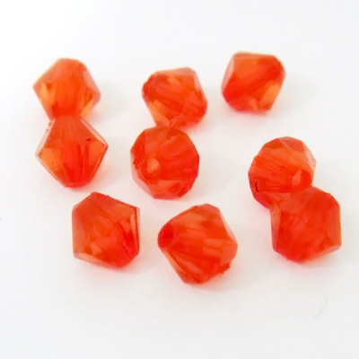 Margele plastic biconice rosu-portocaliu, 6mm 100 buc
