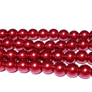 Perle sticla rosii, 6mm 10 buc