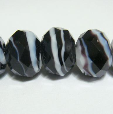 Margele sticla, lampwork, negre cu alb, 12x9mm 1 buc