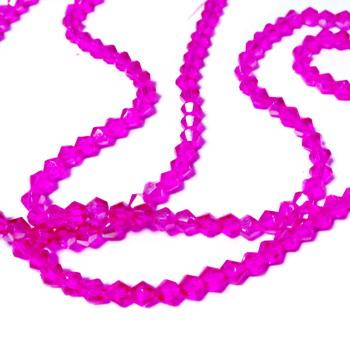 Margele sticla biconice, argintii, semitransparente, 6x4mm 1 buc