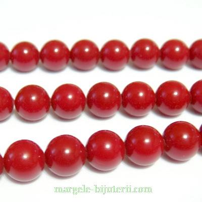 Perle stil Mallorca, rosii, 10 mm 1 buc