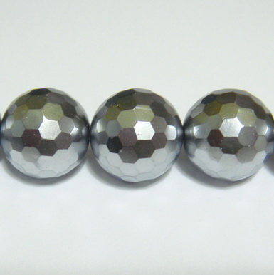 Perle stil Mallorca, gri, multifete, 12mm 1 buc