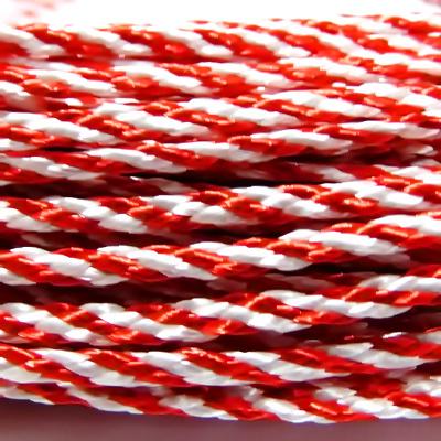 Snur martisor, tesut, plat, pentru martisor, rosu-alb, 3mm 1 m