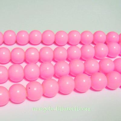 Margele sticla, vopsite roz-intens, 8mm 10 buc