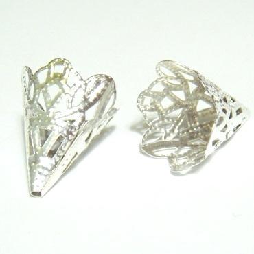 Capac filigran argintiu, 20x16 mm 1 buc