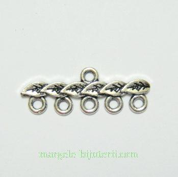 Accesoriu multisir, argint tibetan, cu 5 bucle, 28x7mm 1 buc