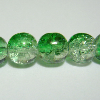 Margele sticla crackle, verde-alb, 8.6 mm 10 buc