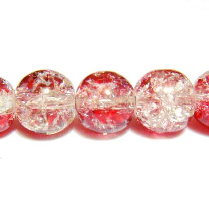 Margele sticla crackle, rosu-alb, 8.6 mm 10 buc