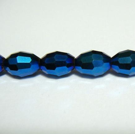 Margele sticla albastre-metalizate, ovale, 8x6mm 1 buc