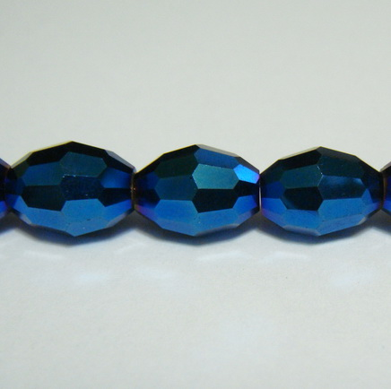 Margele sticla albastre-metalizate, ovale, 10x8mm 1 buc