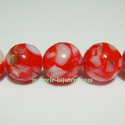 Perle sidef sferice, rosii cu alb, 10mm 1 buc