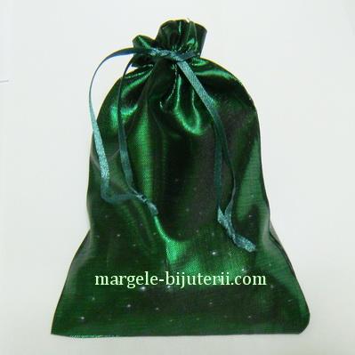 Saculet metalizat verde, 15x12.5 cm 1 buc