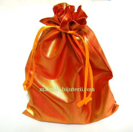 Saculet metalizat portocaliu, 15x12.5 cm 1 buc