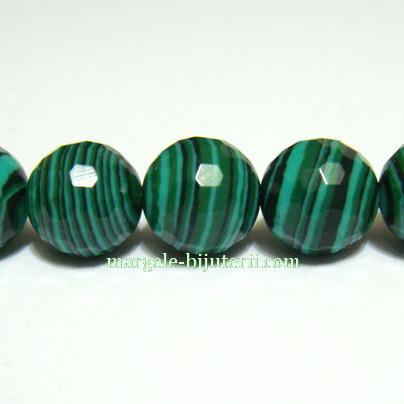 Malachit de sinteza, verde, multifete, 10mm 1 buc
