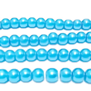 Perle sticla bleu, 6mm 10 buc
