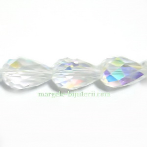 Margele sticla, transparente AB, lacrima 12x8mm 1 buc