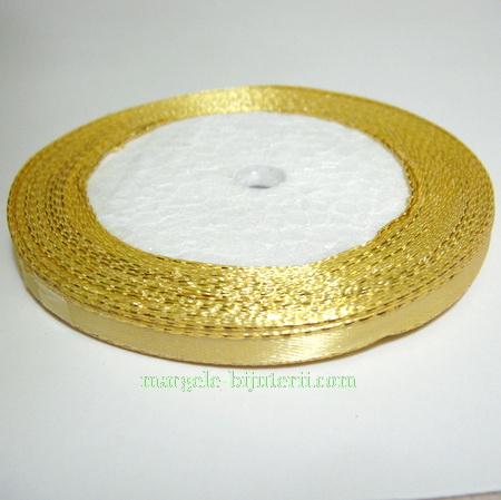 Saten auriu cu fir lurex auriu, 7mm 1 rola 25 m