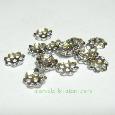 Capacel filigran, argintiu inchis, 6x1mm - aprox. 50 buc 1.2 g