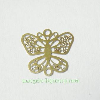 Pandantiv filigran, otel inoxidabil, fluture 12x13mm 1 buc
