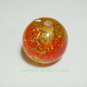 Margele transparente, rasina, rosii cu interior sclipici, 16mm 1 buc