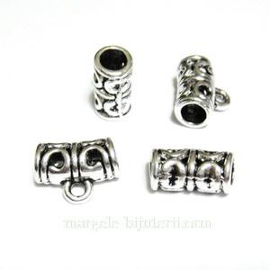 Agatatoare pandantiv, argintiu antichizat, 11x6mm, orificiu 2.5mm 1 buc