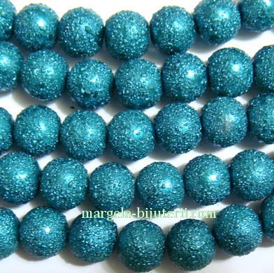 Perle sticla, stardust, verzi smarald, 8mm 1 buc
