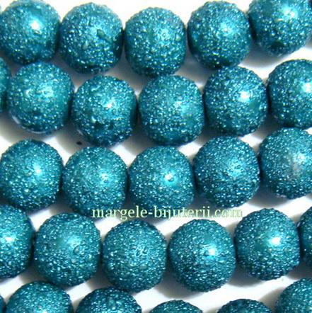 Perle sticla, stardust, verzi smarald, 10mm 1 buc