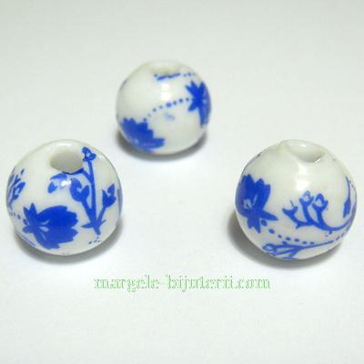 Margele portelan albe cu flori pictate albastru-inchis, 12mm 1 buc
