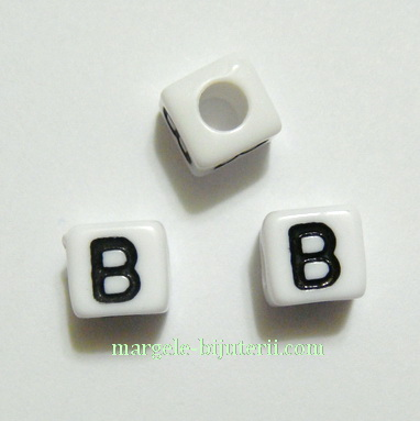 Margele alfabet, plastic alb, cubice 8x8x8mm, litera B 1 buc