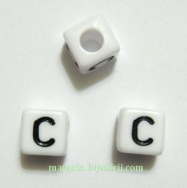 Margele alfabet, plastic alb, cubice 7x7x7mm, litera C 1 buc